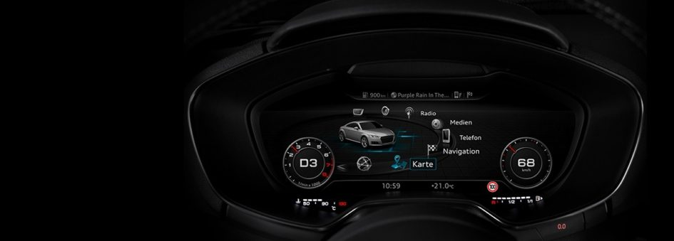 Image of the Audi virtual cockpit in Infotainment Mode