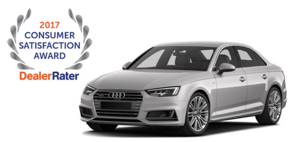 2017 Audi A4 with DealerRater award badge